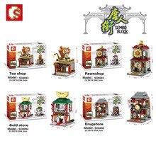 Tijolos para Construção Blocos Mini Loja de Rua Estilo Chinês Chinatown SEMBO Bonito Micro Loja de Presentes Modelo Crianças brinquedos Educativos Criança
