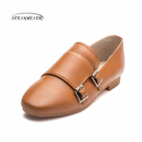 Women Oxford Spring Buckle Single Leather Shoes British 100 Cowhide Flat Soft Cas Shoes Vintage Retro