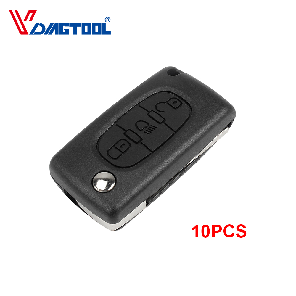 10pcs Remote 3 Buttons Key Shell Car Key Fob Case With Light Button For Peugeot No Battery Place Without Groove Blade(CE0523) image