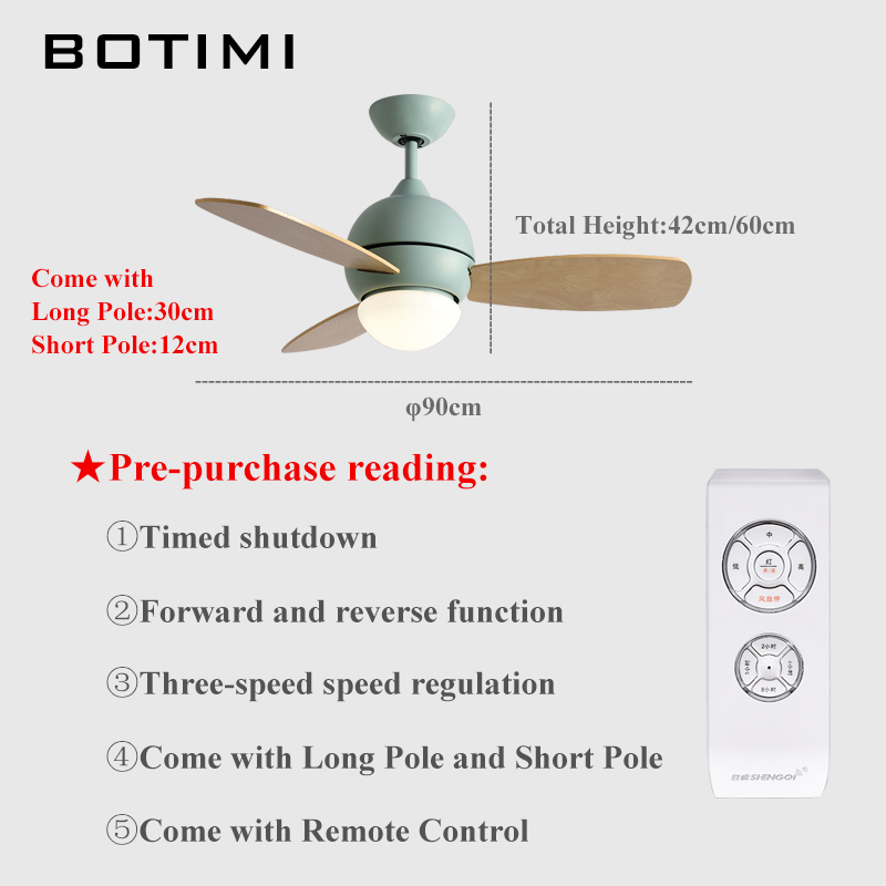Botimi Ceiling Fan For Small House Houselet Cooling Fans With Lights Restaurant Led Light 220v Ventilator In From