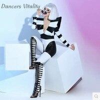 Сценические костюмы барная певица в ночном клубе Dj танцевальная команда атмосфера черно белая эластичность представление сексуальная оде