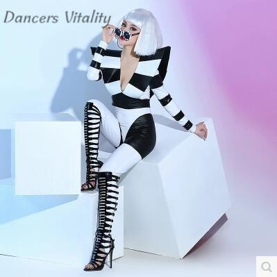 Costumi di scena Bar Discoteca Cantante Femminile Dj Dance Team Atmosfera in Bianco E Nero Elasticità Prestazioni Sexy Vestiti Della Tuta