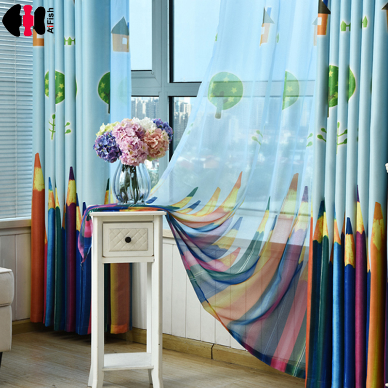 vorh nge bleistift falten gedruckt baby vorh nge f r kinder kindergarten schatten tuch sheer. Black Bedroom Furniture Sets. Home Design Ideas