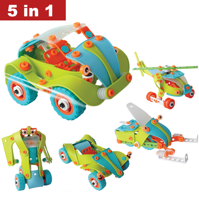Creative DIY 5 In 1 Soft Plastic Nuts Assembled Toy Car Robot Airplane Model Building Blocks Puzzle Toy for Children Education treasure in cage ru bun lock children puzzle toy building blocks
