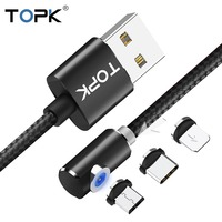 TOPK L-Line1 90 degree Magnetic USB Cable for iPhone Xs Max 8 7 6 5 Magnet Micro USB Type C Cable for Samsung Xiaomi Huawei