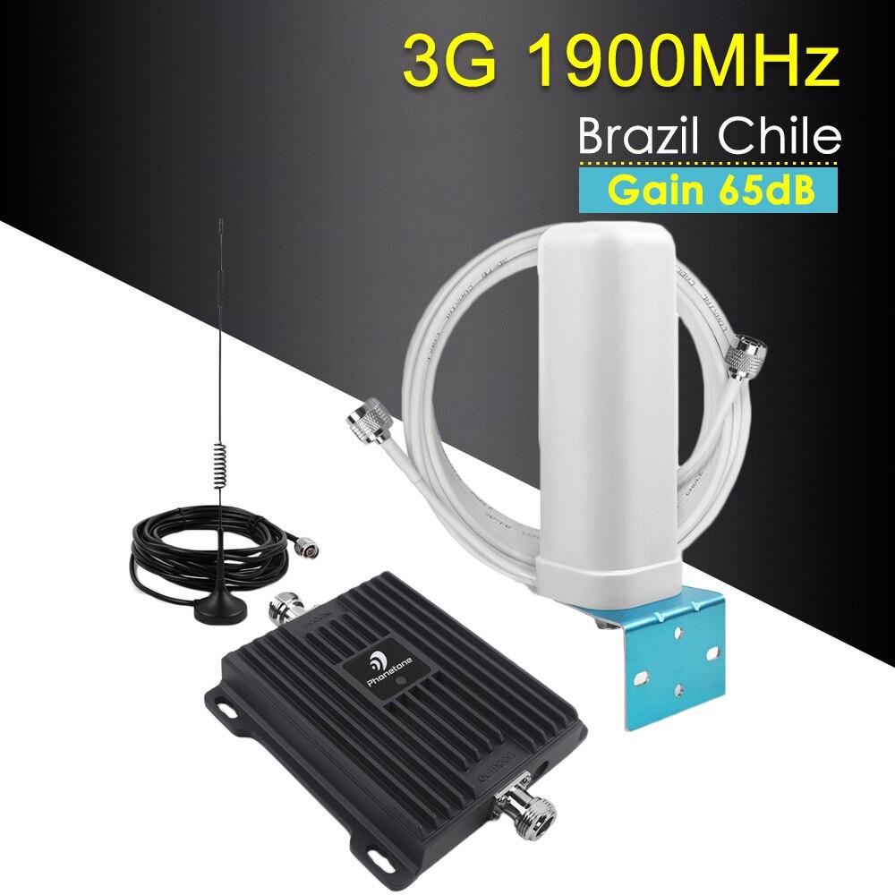 Amplificateur de Signal de téléphone portable 3G Booster 1900 MHz répéteur de Signal Mobile amplificateur GSM amplificateur de Signal d'antenne de téléphone portable ensemble 65dB