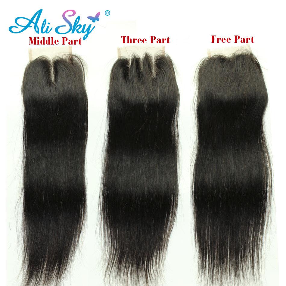 Brazilski naravnost lasje 4 snopi z 1pcs vrhnje čipke zaprtje 100% - Človeški lasje (za črne) - Fotografija 4