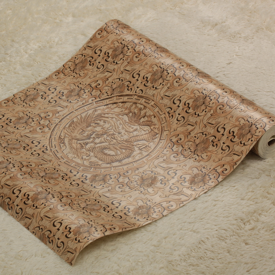 Chinese Style Living Room Background Wallpaper Dragon Pattern Study Wallpaper Brown Pvc Home Decoration Wallpaper Roll dragon футболка dragon claim it tee f10 brown