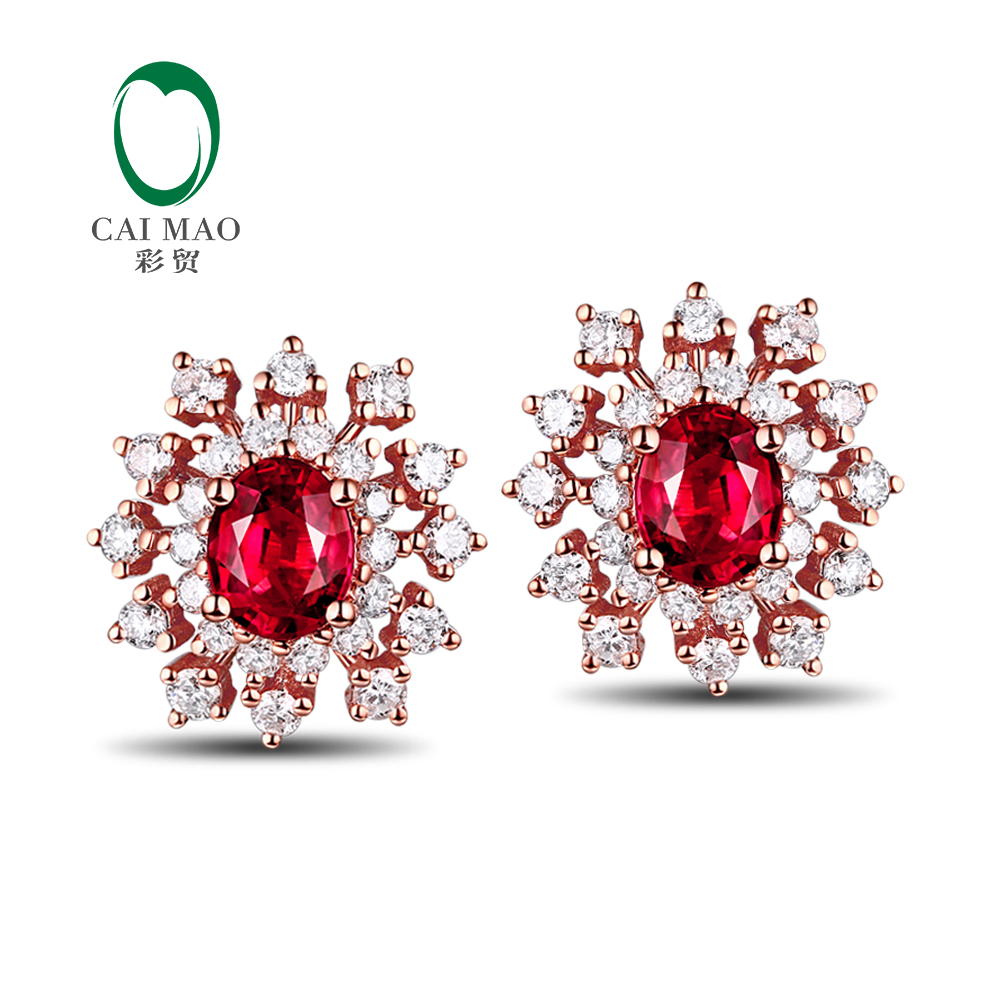 Snow Shape 102ct Natural Ruby 056ct Diamond 14kt Gold Earrings Stup  Earring Promotion(