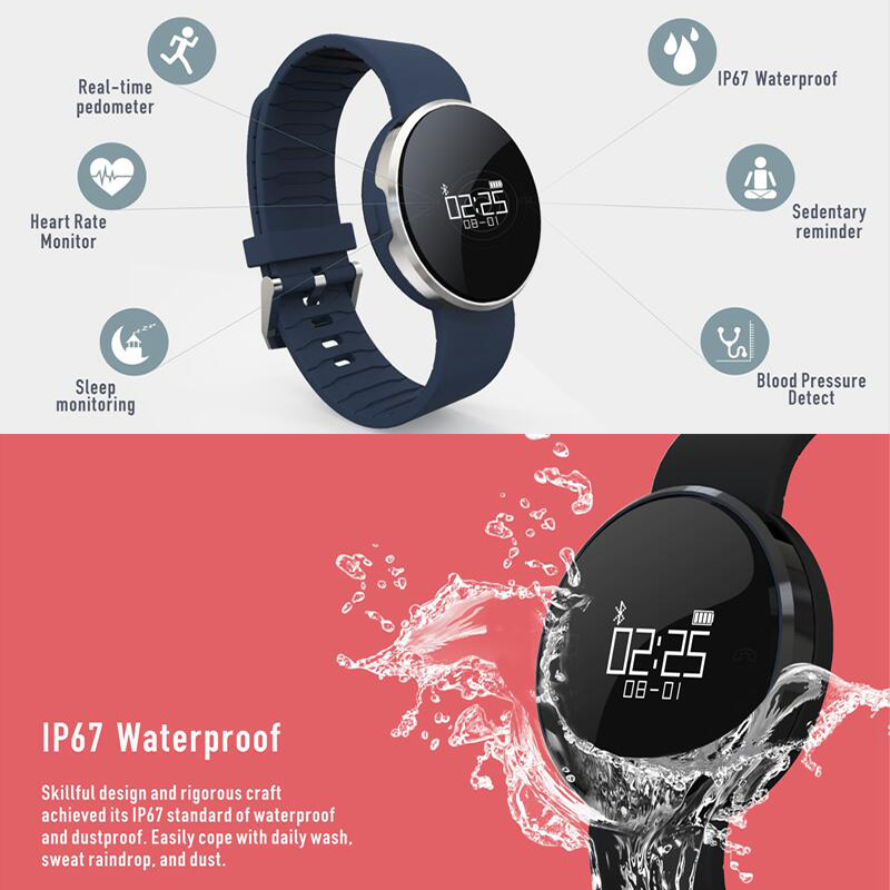 JingTider UW1S Heart Rate Monitor Smart Band Blood Pressure Sport Smart Bracelet IP67 Waterproof wristband For Android iOS Phone
