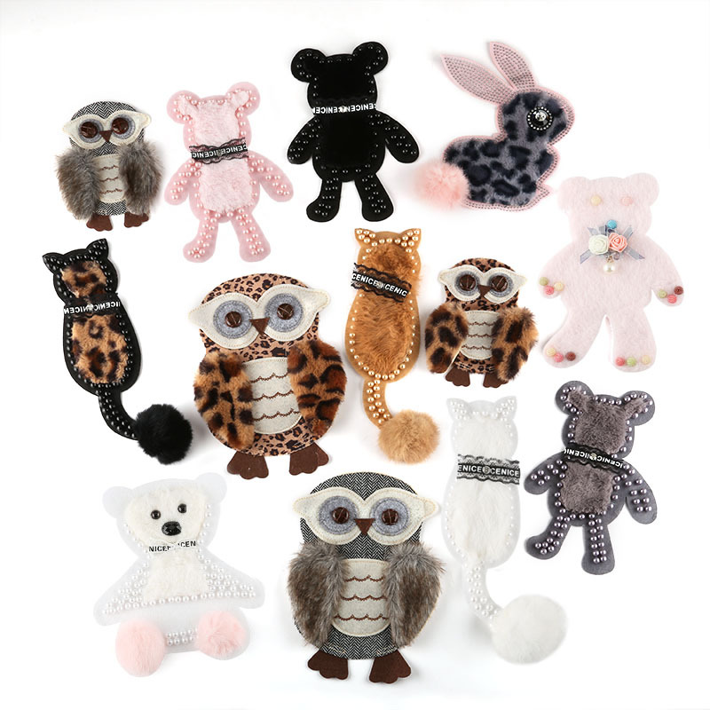 50pcs Beaded Animal Sew on Patch Cute Bear Rabbit Owl Cat Emblems Patches Children Crafts Hat Bag Clothes DIY Decoration Sticker