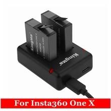 2019 Yeni 2 Adet 1150mAh Bir X Şarj Edilebilir Pil + Mikro/Tip c Portu çifte şarj makinesi Için Insta360 one X Kamera Aksesuarları