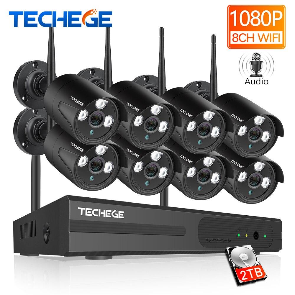 Techege 2MP 8CH 1080 P WI-FI NVR Áudio CCTV Sistema de Câmera Kit de Câmera de Segurança de Vigilância IP Sem Fio Da Câmera de Vídeo À Prova D' Água