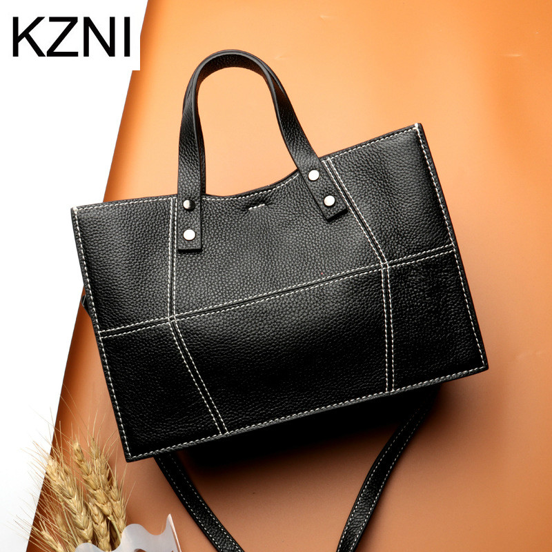 KZNI Real Leather Tote Bag Cross Shoulder Bags Female Leather Purse and Handbags High Quality Femmes Sac a Main Femme L7039 kzni genuine leather cowhide clutch cross shoulder bags high quality rivet crossbody bag sac a main femme bolsos mujer 9062 9063