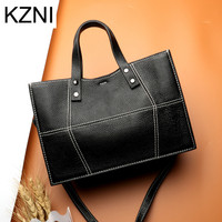 KZNI Real Leather Tote Bag Cross Shoulder Bags Female Leather Purse and Handbags High Quality Femmes Sac a Main Femme L7039