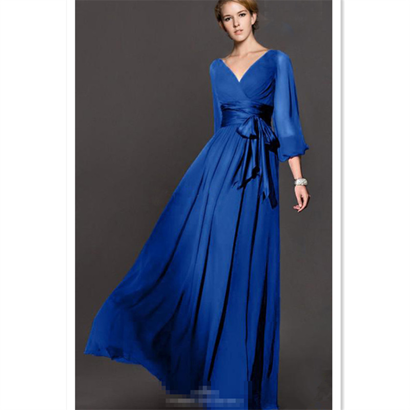 WBCTW Plus Size Dress 2018 Spring Summer Long Sleeve V-Neck Party Wedding Elegant Long Maxi Women Dresses Solid High Waist Dress benefit goof proof brow pencil карандаш для объема бровей 05 deep тёмно коричневый