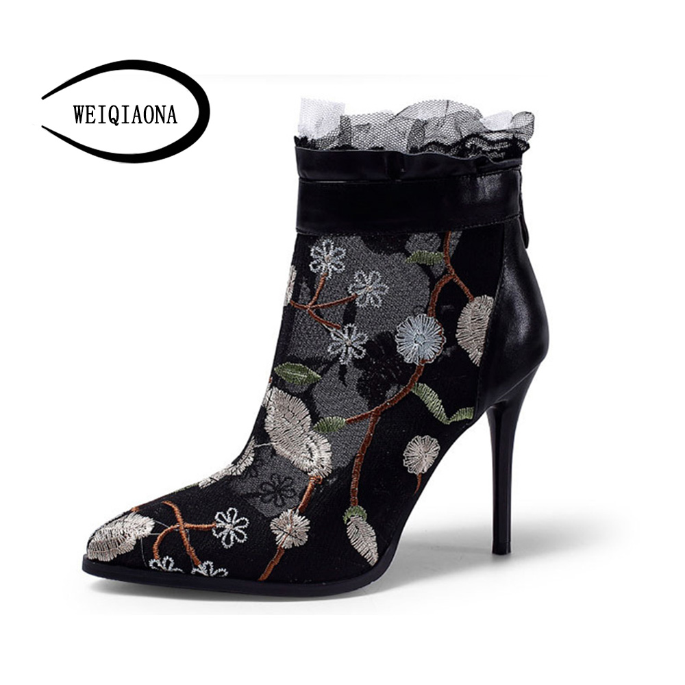 WEIQIAONA 2018 New Fashion Women shoes Casual Embroider High Heels Leather Mesh Sandals Back Zipper Open Toe Sandals boot