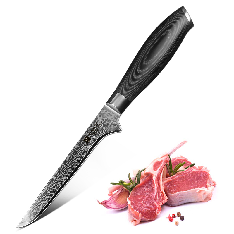 XINZUO 5.5'' Curved Boning Fishing Knife Stainless Steel Kitchen Knives Damascus Sharp Japanese VG 10 Chef Knife Kitchen Tool image