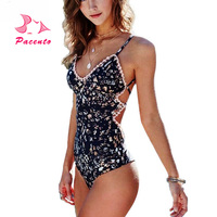 Pacento One Piece Swimsuit Female Sexy Halter Bathing Suits Swimwear Women Bodysuit Floral Print Monokini Plus