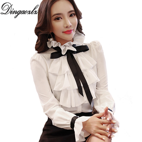 Dingaozlz Chiffon blouse Spring 2018 Women Ruffles Tops Solid color office lady Bow tie shirt Flare sleeve Women clothing