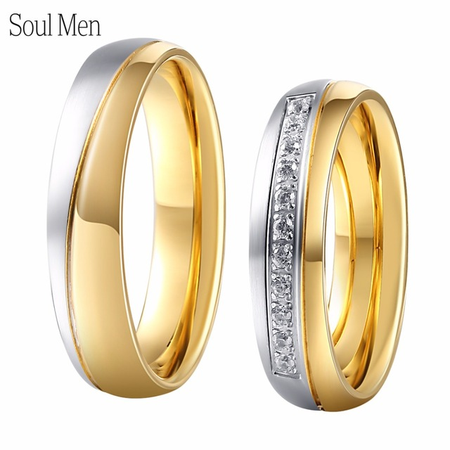 1 Pair Couples Lovers Rings Sets Titanium Steel Wedding Engagament Band 6mm for Men Women Alliance with CZ Stone