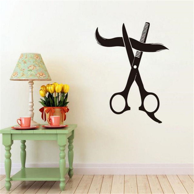 For Hairstyle Shop Wall Sticker Scissors Cutting Hair Art Decals