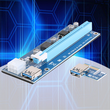 PCI-e to Dual USB 3.0 Riser Card PCI Express 1X to 2 16X Riser Card + USB 3.0 Extender Cable SATA 15 Pin-4Pin Power Cable