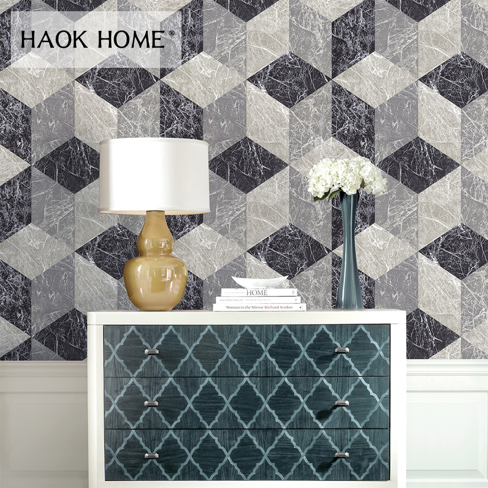 HaokHome Diamond Geometric Brick Wallpaper Grey/White 3D Vinyl Wall paper living room Bedroom Kitchen Home Wall Decoration wallpapers youman 3d brick wallpaper wall coverings brick wallpaper bedroom 3d wall vinyl desktop backgrounds home decor art