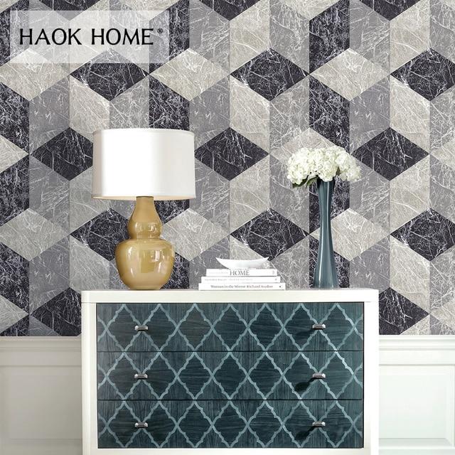 Haokhome Diamond Geometric Brick Wallpaper Grey White 3d Vinyl Wall