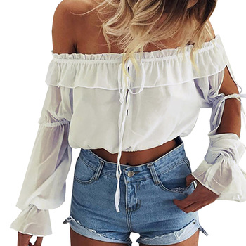2017 Sexy Off Shoulder Chiffon Blouses Shirt Ladies Straples Hollow Out Blouse Casual White Women Tops