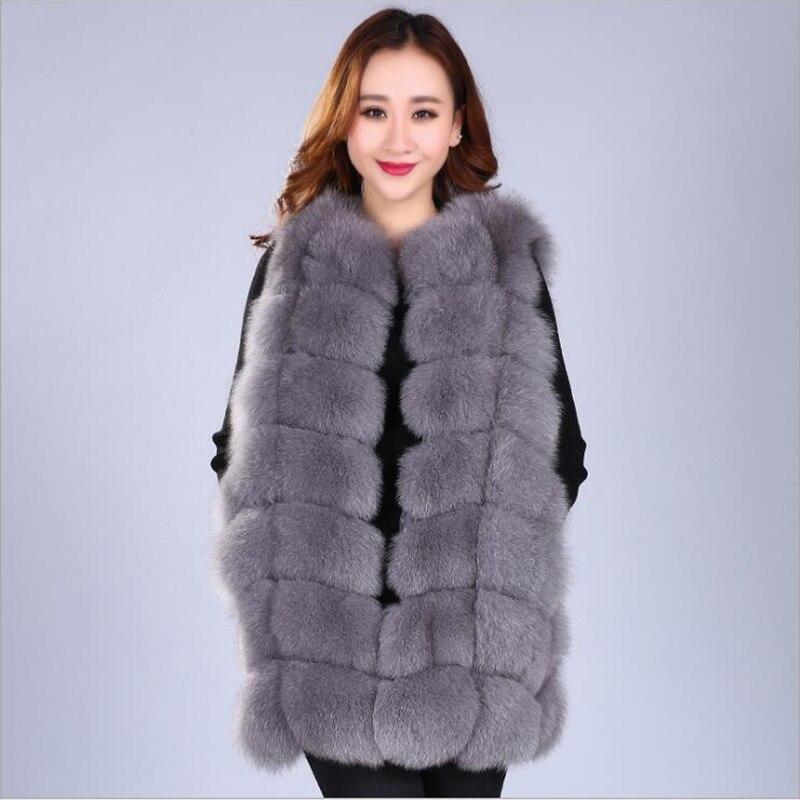 Real Fox Fur Vest Winter Women Casual Warm Coats Slim long Style Sleeveless Fox Fur Jacket Women Outerwear in Real Fur from Women 39 s Clothing