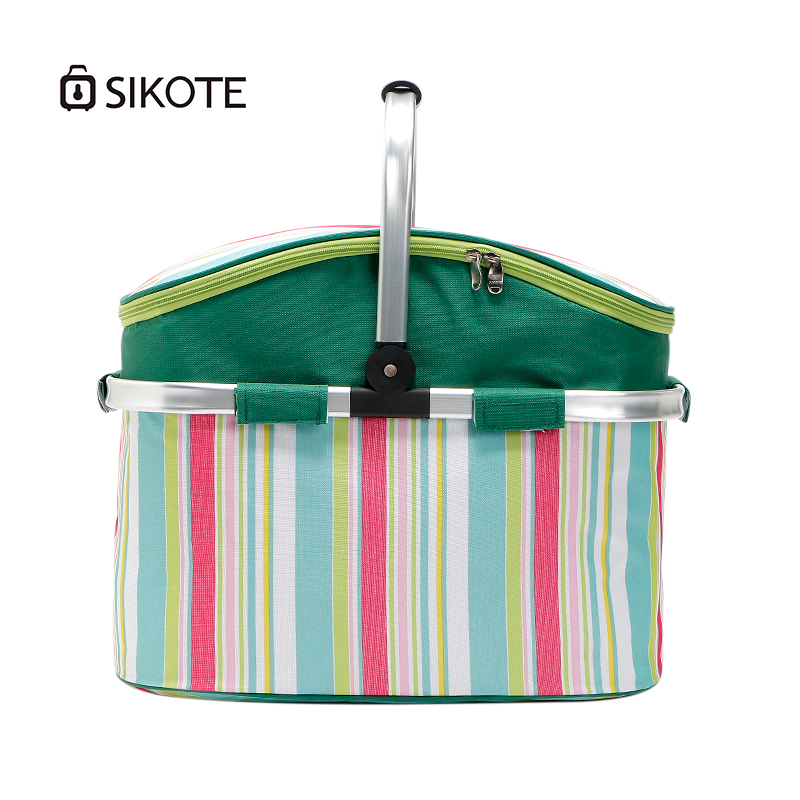 SIKOTE 26L Foldable Lunch Bags Oxford Basket Handbag for Women Kids and Men Colorful Cooler Bags for Food Wine Fruit Keep Fresh