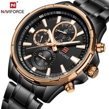 NAVIFORCE 2017 חדש של הגברים שעון אופנה מקרית מלא פלדת שעוני יד קוורץ Masculino Relogio ספורט צבא שעון צבאי זכר