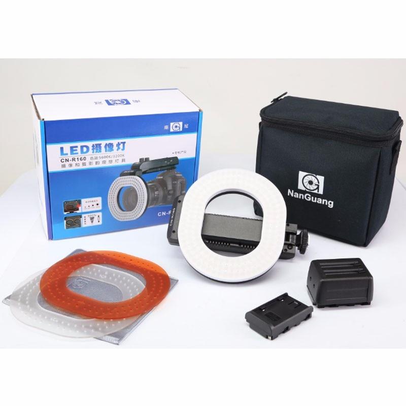 NanGuang CN-R160 LED Video Light 5600K/3200K Independent dimming ring LED light for Canon Nikon Sony DSLR DV Cameras