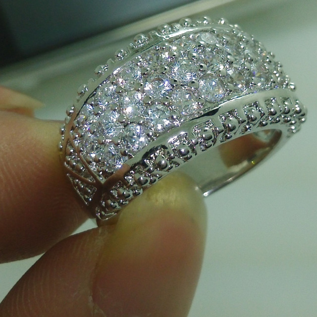 choucong Sparkling Jewelry 10KT Gold Filled White Stone 5A Zircon