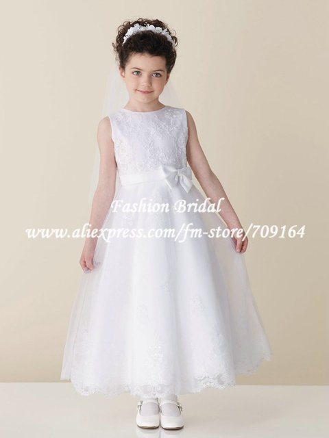 527949d9ec FH066a Elegant A-Line Bow White Satin Lace Lovely First Communion Dress  Long Girls Pageant Dresses
