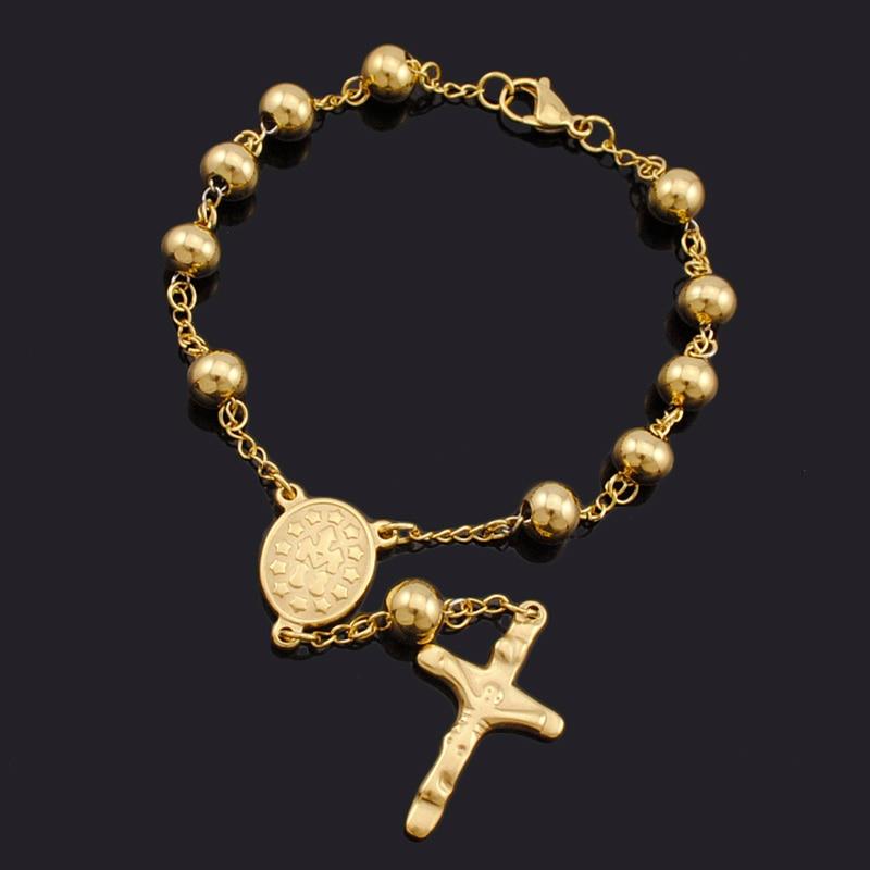 Atgo 8mm Beads Stainless Steel Rosary Religious Catholic