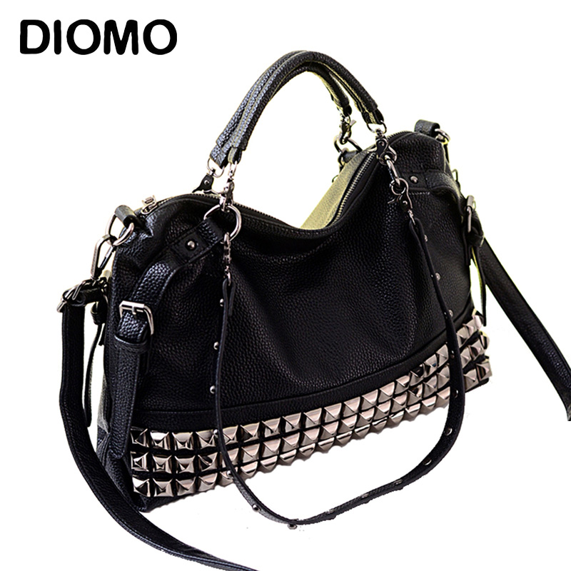 DIOMO women handbags big black motorcycle bag rivet bag handbag big size large capacityDIOMO women handbags big black motorcycle bag rivet bag handbag big size large capacity