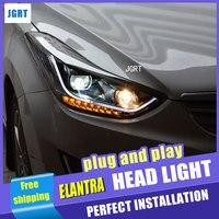 カースタイリングのための現代エラントラヘッドライトアセンブリ2011から2014エラントラmd ledヘッドライトled h7 hidキット2ピース