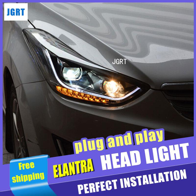 Стайлинга автомобилей для Hyundai Elantra в сборе фара 2011-2014 Элантра МД, фары СИД Сид DRL H7 с HID комплект 2 шт.