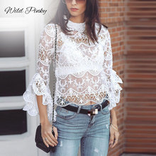 WildPinky Ruffle Lace Crop Tops and Blouse Women White Sexy Hollow Out See Through Mesh Blouse Flare Long Sleeve Shirt Blusas недорго, оригинальная цена