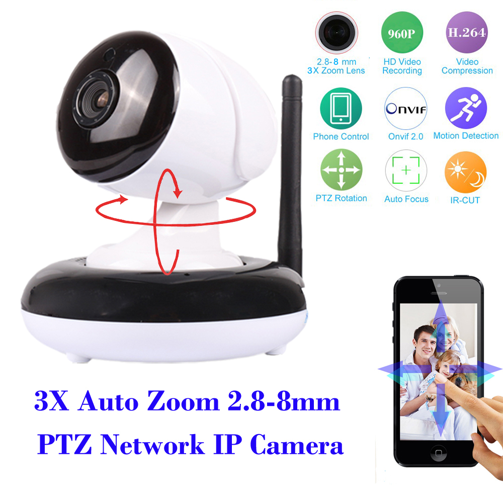ФОТО HI 3516C+SONY323 low lux CMOS Home IP Dome Camera HD 960P 1080P 3X 2.8-8mm Auto Zoom lens PTZ WIFI IP Camera Onvif SD Card