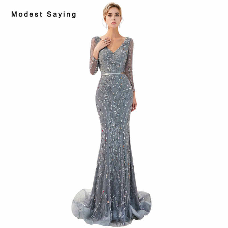 Luxury Shiny Grey Mermaid Starry Sky Sparkly Evening Dresses Long Sleeves  2019 Crystal Formal Lace Engagement 6be43c517521
