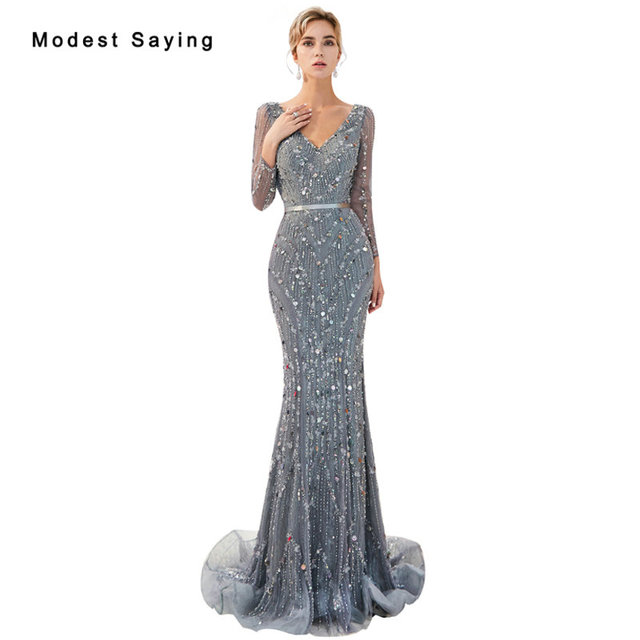 Luxury Shiny Grey Mermaid Starry Sky Sparkly Evening Dresses Long Sleeves  2019 Crystal Formal Lace Engagement Party Prom Gowns 665614c64a11