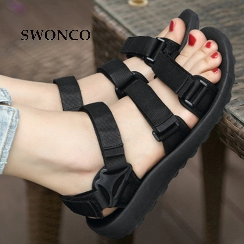 db04196c74a SWONCO strappy sandals women summer shoes 2019 platform sandals for woman men  black red flat holiday beach sandal size 44 -in Women s Sandals from Shoes  on ...