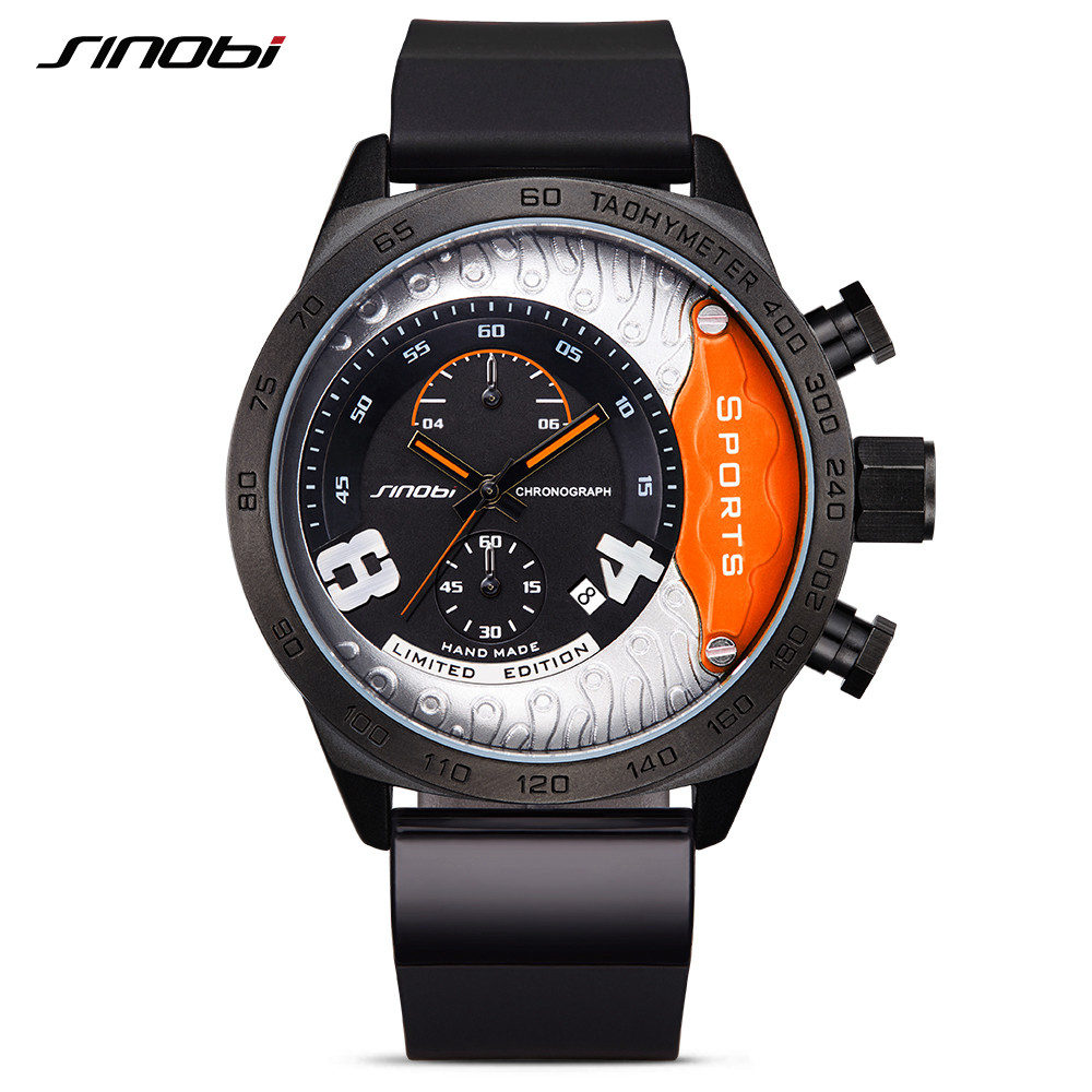 SINOBI Waterproof Geneva Quartz Wristwatch Men's Sports Clock Watch Relogio Masculino Racing Fast & Furious Chronograph Hours