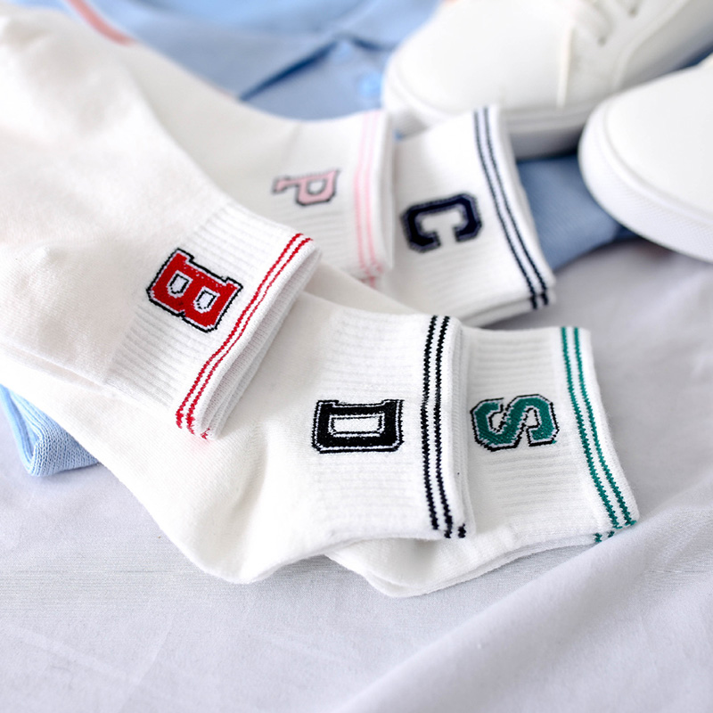 2018 Summer Women Casual   Sock   Spring Simple Letter Breathable   Socks   One Size Invisible Anti-friction Women's Sweat Socking