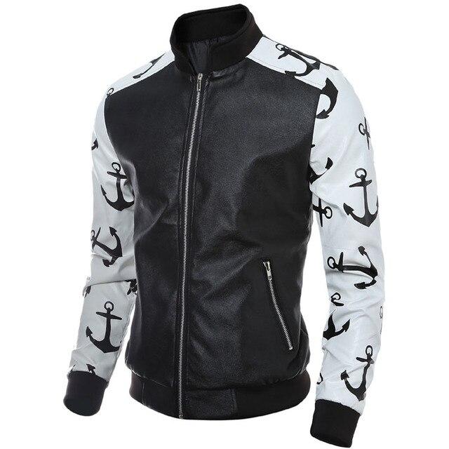 Pu кожаная куртка свободного покроя 2016 весна осень лоскутное цветовой контраст человек овчины молния полный короткие кожаные куртки