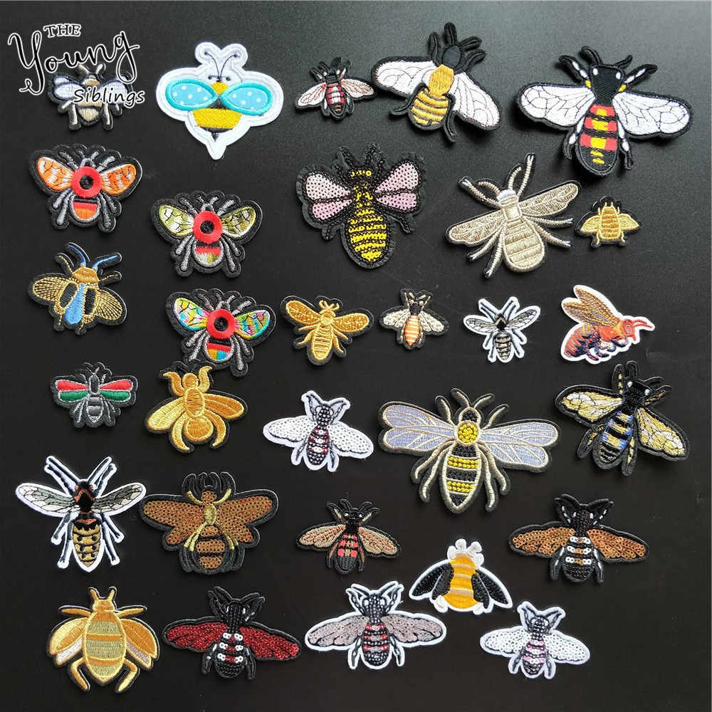 Hot sale insect Embroidery Applique Iron On Patch For bee Badge Paste Sewing  hornet Stickers DIY Clothing decorate Accessories
