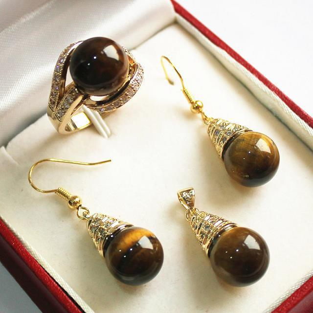 Hot sell Noble- hot sell new - noble new jewelry + 12mm tiger eye stone Natural stone pendant, earring, , ring set new tiger eye stone necklace bracelet earring ring 7 9 set no box aa265